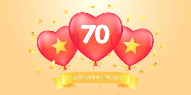 Años aniversario vector logo, icono. banner de plantilla con globos aerostáticos para tarjeta de felicitación de aniversario