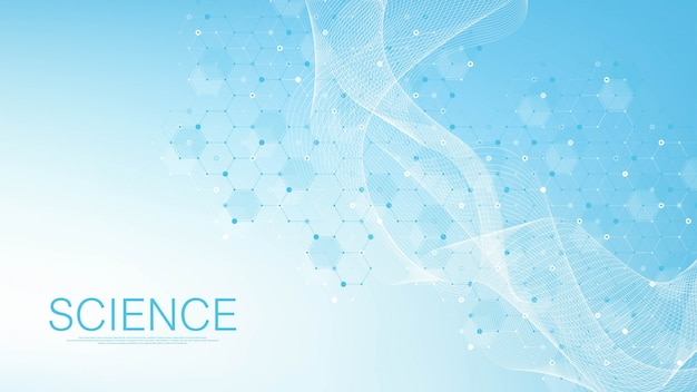 Antecedentes científicos de la molécula de medicina, ciencia, tecnología, química. fondo de pantalla de plantilla de ciencia o banner con moléculas de adn. flujo dinámico de onda de adn. molecular