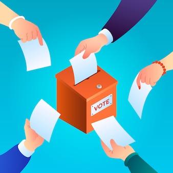 Antecedentes del concepto de votación. ilustración isométrica de la papeleta