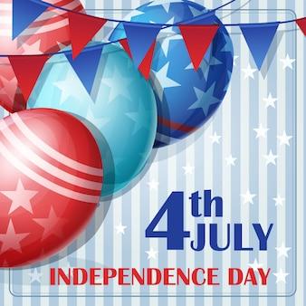 Antecedentes del día de la independencia el 4 de julio con banderas y globos.