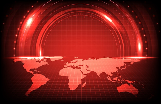 Antecedentes de escaneo de pantalla de tecnología futurista con mapas del mundo rojos