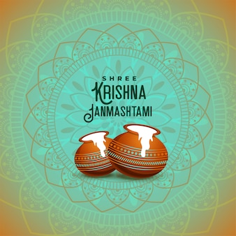 Antecedentes del festival étnico hindú shree krishna janmashtami