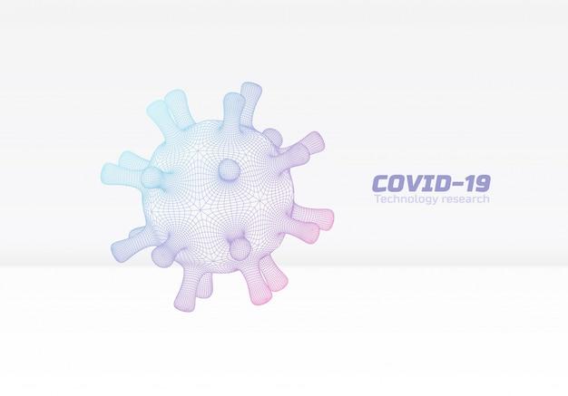 Antecedentes médicos de coronavirus covid-19 con tecnología de esquema de virus de cuadrícula flotante en plantilla de folleto de infografía científica