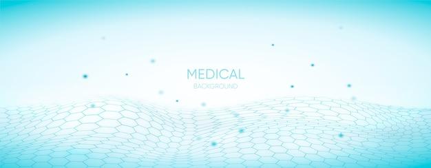 Antecedentes médicos con cuadrícula hexagonal 3d