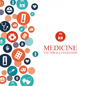 Antecedentes médicos con diseño gráfico de elementos