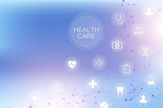 Antecedentes médicos con iconos de atención médica.