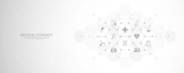 Antecedentes médicos con iconos y símbolos planos