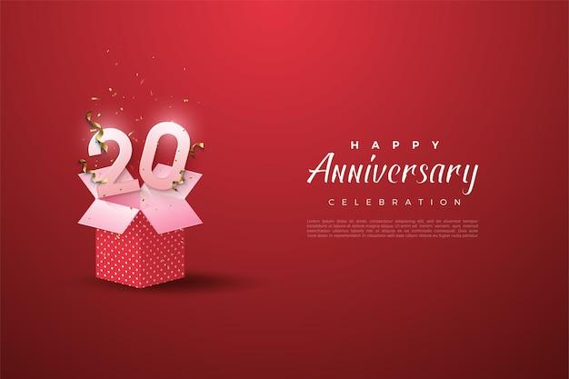 Antecedentes del vigésimo anivversario con números que salen de la caja de regalo