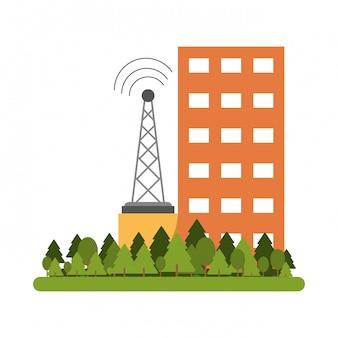 Antena de edificios y telecomunicaciones.