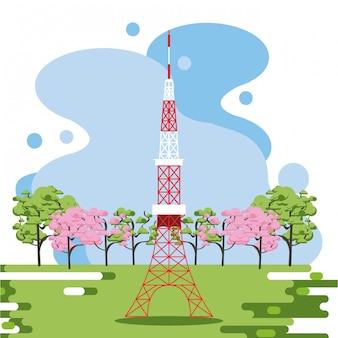 Antena de telecomunicación en la naturaleza.