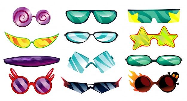 Anteojos o gafas de sol de dibujos animados en formas elegantes. gafas ópticas conjunto de accesorios para gafas. ilustración aislada