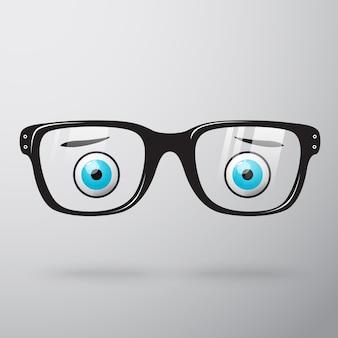 Anteojos preocupados con ojos