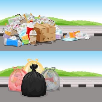 Antes y después en concepto de separación de residuos de limpieza, bolsas de basura de residuos plásticos