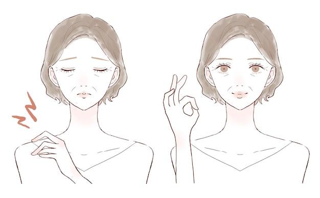 El antes y el después de una mujer de mediana edad que sufre de rigidez en los hombros. sobre un fondo blanco.