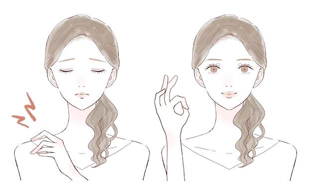 Antes y después de una mujer que sufre rigidez en los hombros. sobre un fondo blanco.