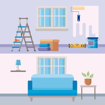 Antes y después de la reparación de mejoras para el hogar.