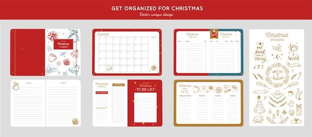 Antes del organizador de feliz navidad, planificador con ilustraciones dibujadas a mano y caligrafía manuscrita.