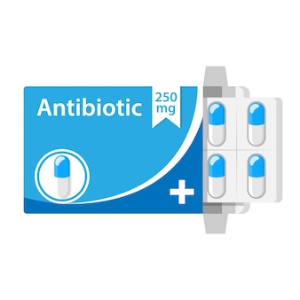 Antibióticos en una cápsula de caja