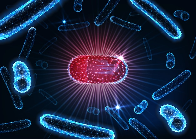 Antibióticos en pastillas en medio bacteriano. cápsula de droga futurista entre microorganismos bacilos.