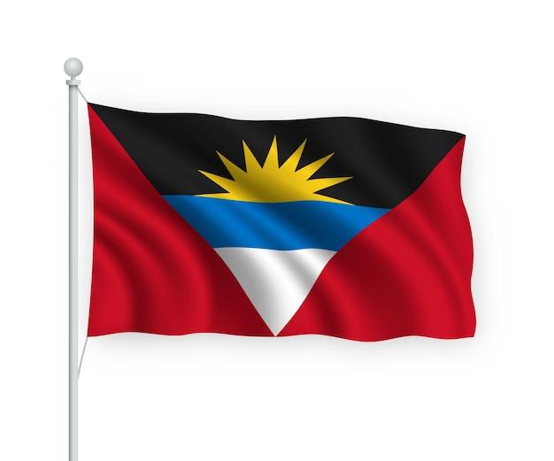 Antigua y barbuda ondeando la bandera en el asta de la bandera aislado en blanco