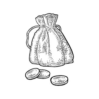 Antigua bolsa de dinero con monedas.