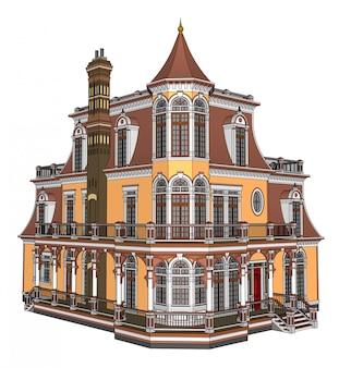 Antigua casa en ilustración de estilo victoriano