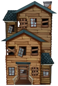 Antigua casa de madera con chimenea