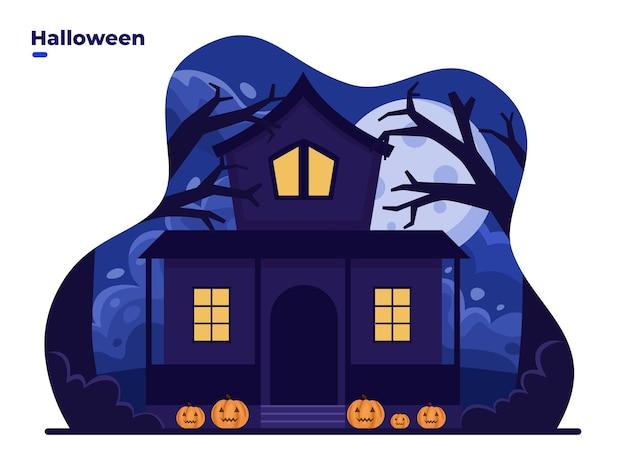Antigua casa de miedo de halloween con ventanas luminosas en la ilustración de vector de dibujos animados de noche
