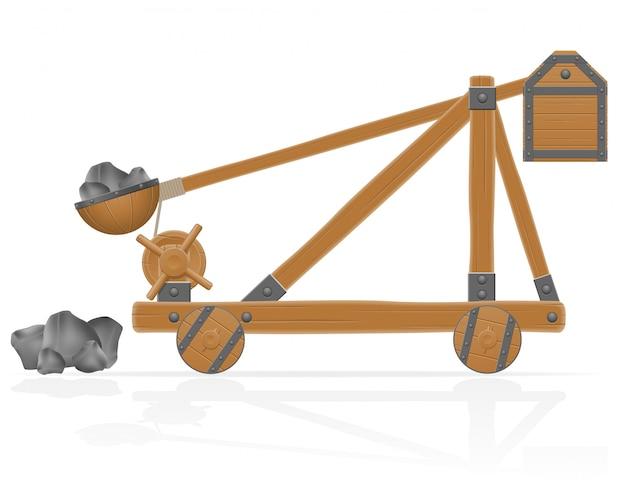 Antigua catapulta de madera cargada piedras vector illustration