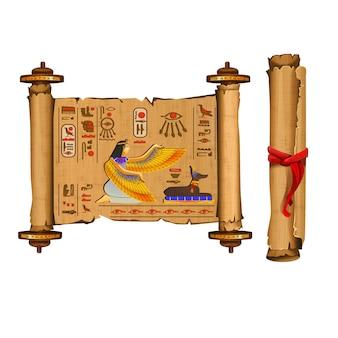 Antigua colección de vectores de dibujos animados de desplazamiento de papiro de egipto con jeroglíficos y cultura egipcia