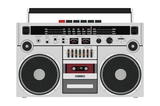 Antigua grabadora de cassette para empujar música con dos altavoces aislados