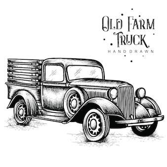 Antigua granja camión dibujado a mano