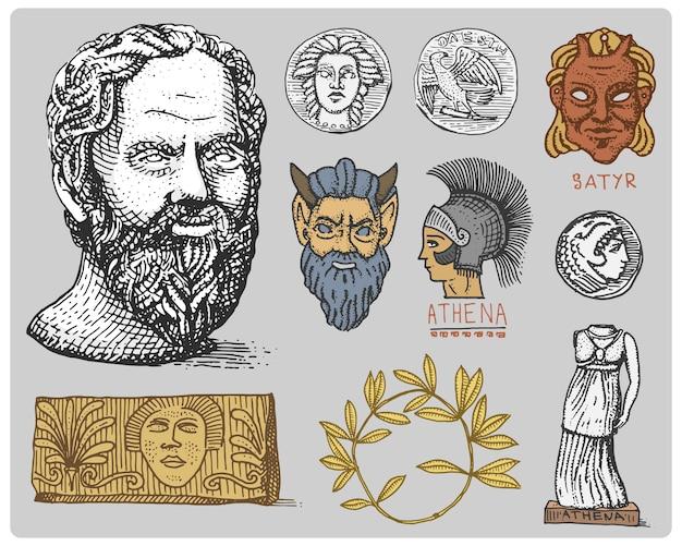 Antigua grecia, símbolos antiguos cabeza de sócrates, corona de laurel, estatua de atenea y cara de sátiro con monedas vintage, dibujado a mano grabado en boceto o estilo de corte de madera, aspecto antiguo retro