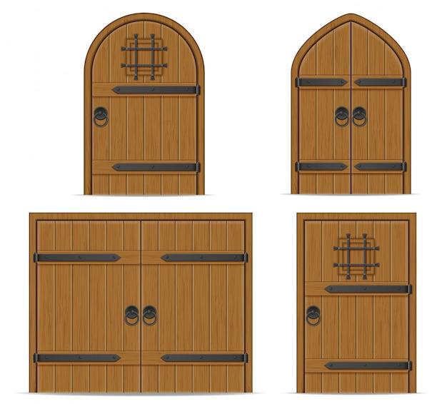 Antigua ilustración de vector de puerta de madera