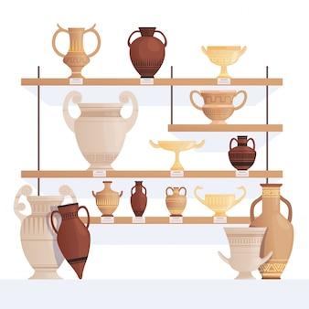 Antigua jarra en estantes. vasija antigua en la historia del museo vasos de arcilla y ánforas
