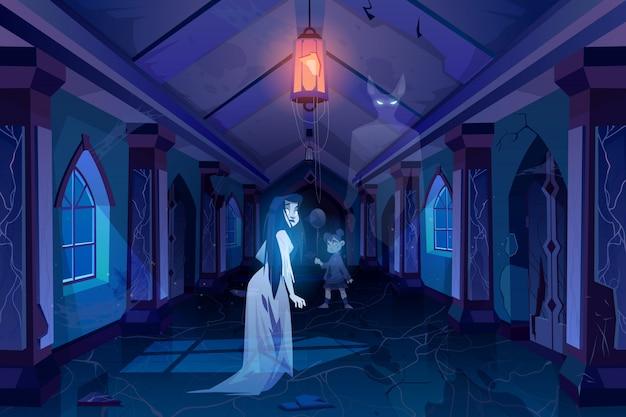 Antigua sala del castillo con fantasmas caminando en la oscuridad ilustración