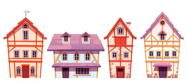 Antiguas casas con entramado de madera en aldea alemana