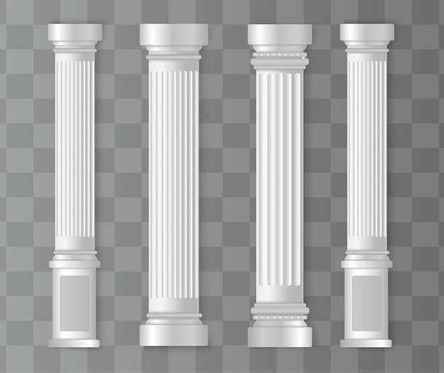 Antiguas columnas blancas. columna romana, pilar griego.