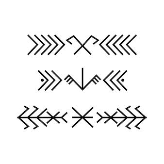 Antiguas fronteras de ornamento lineal folk báltico. símbolo ornamental étnico de la cruz sagrada. signo tradicional estonio lituano letón antiguo. ilustración vectorial.