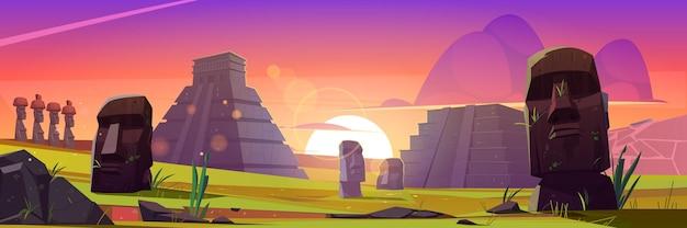 Antiguas pirámides mayas y estatuas moai al atardecer
