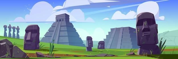Antiguas pirámides mayas y estatuas moai en la isla de pascua.