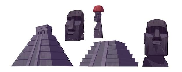 Antiguas pirámides mayas y estatuas moai de la isla de pascua.