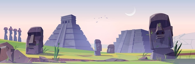 Antiguas pirámides mayas y estatuas moai en isla de pascua