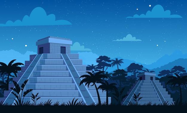 Antiguas pirámides mayas en la noche con plantas tropicales, fondo de selva y cielo en estilo de dibujos animados plana.