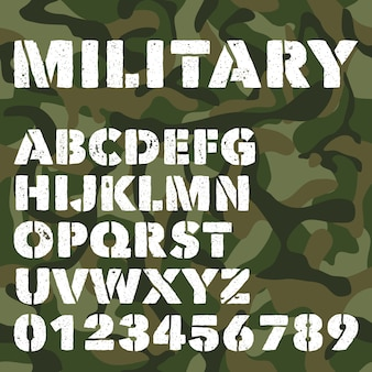 Antiguo alfabeto militar, letras en negrita y números en camuflaje verde del ejército