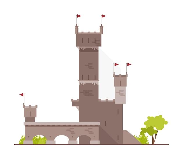 Antiguo castillo, fortaleza, ciudadela o fortaleza con torres y arcos aislados sobre fondo blanco.