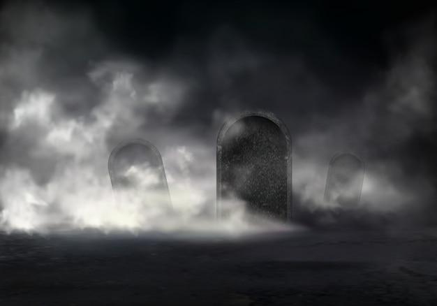 Antiguo cementerio en el vector realista de noche con lápidas inclinadas cubierto niebla espesa en la oscuridad ilust