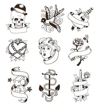 Antiguo conjunto de tatuajes vintage.