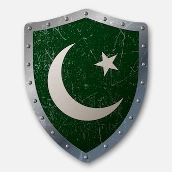 Antiguo escudo con bandera de pakistán