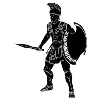 El antiguo guerrero griego con armadura y un casco con un arma en la mano está listo para el ataque y la defensa.